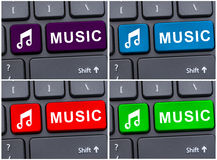 Music symbol on computer keypad Stock Photos