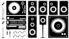 Music Symbols 02. Microphone, headphone, speakers, turntable and other music related symbols. Very high resolution Royalty Free Stock Photography