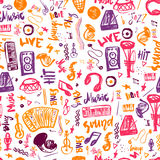 Music symbols funny hand drawn seamless pattern with   elemens and lettering. Stock Image