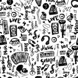 Music symbols funny hand drawn seamless pattern with elemet and lettering. Royalty Free Stock Photography