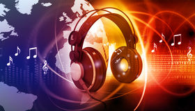 Music symbols with headphones Royalty Free Stock Images