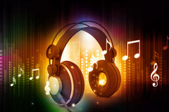 Music symbols with headphones Royalty Free Stock Photo
