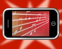 Music Symbols On Mobile Phone Shows Online Radio Royalty Free Stock Photos