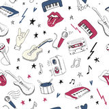 Music symbols. Seamless pattern. rock music background textures, Stock Image