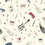 Music symbols. Seamless pattern. rock music background textures, Stock Images