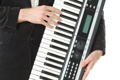 Music synthesizer in hand Royalty Free Stock Photos