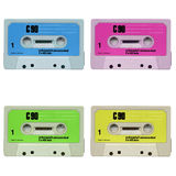 Music tape cassette. Magnetic audio tape cassette for music recording isolated over white stock image