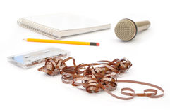 Music tape and microphone Royalty Free Stock Images