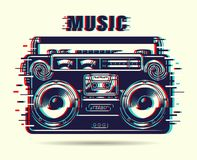 Music tape recorder. With glitch effect. Vector illustration Royalty Free Stock Images