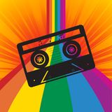 Music tape silhouette on rainbow striped background Stock Photo
