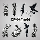 Music tattoo collection. Rock signs. Set for music fans Royalty Free Stock Images