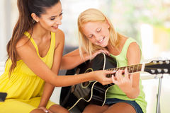 Music teacher tutoring Stock Image