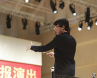 Music teacher yangwangfang as orchestra conductor Royalty Free Stock Photography