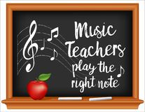 Music Teachers Play the Right Note Chalkboard. Music teachers play the right note, treble clef on staff, wood frame blackboard, chalk and apple. March is vector illustration