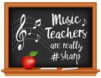 Music Teachers are # Sharp Chalkboard, Apple. Music teachers are really #sharp, chalk text, music notes, treble clef on staff, wood frame chalkboard, apple stock illustration