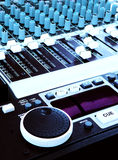 Music technology - DJ Sound mixer console Royalty Free Stock Image