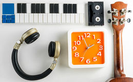 Music Technology Equipments flat lay on white Stock Images