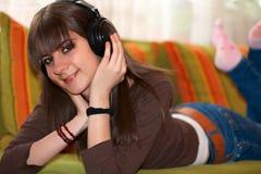Music teenager stock photo
