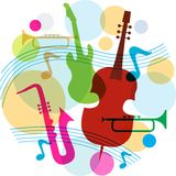 Music template with notes, guitar and saxophone Stock Image