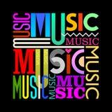 Music text design on a black Stock Photos
