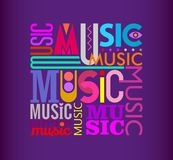 Music text design on a dark violet Royalty Free Stock Image