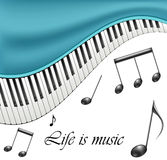 Music text frame with notes and piano keys Stock Photos
