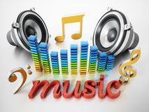 Music word, speakers, music notes and equalizer. 3D illustration Stock Photos