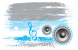Music theme. Grunge music notes background with halftone background ,vector illustration Royalty Free Stock Photos