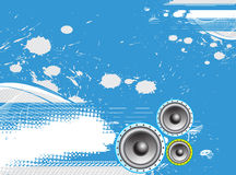 Music theme. Grunge music notes with halftone background, vector illustration Stock Image
