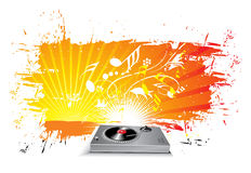 Music theme. Turntable on grunge urban wave lien background, vector illustration Royalty Free Stock Image