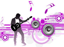 Music theme. Silhouetted a young man enjoy music in abstract wave background,  illustration Stock Photo