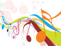Music theme. Abstract rainbow wave line with Music notes for design use,  illustration Stock Photo