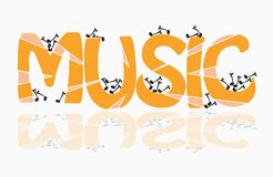 Music theme. Colored music theme with musical notes and reflection - vector illustration Royalty Free Stock Images
