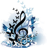Music theme. Treble clef, abstract background with butterfly and splash Royalty Free Stock Image