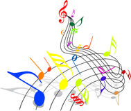 Music theme. Colorful notes on white background Stock Images