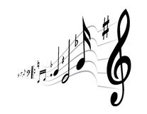 Music theme. Black music on the white background Royalty Free Stock Images