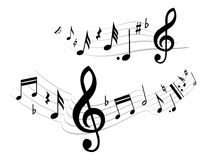 Music theme. Black music on the white background Stock Images