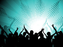 Music theme. Silhouettes of people dancing with people blasted by music Royalty Free Stock Photos
