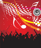 Music theme. Silhouettes of people dancing with music speaker background royalty free illustration