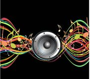 Music  theme background. This image is a  illustration abstract  music background with colorful line Stock Photo