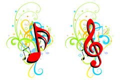 Music theme background. Two Music theme corner or background with colorful floral motif Stock Images