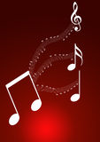 Music theme background. Music notes in red background Stock Image