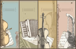Music theme banners - instruments drawing Stock Image