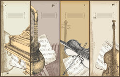 Music theme banners - instruments drawing. Piano, violin, bass, harp-guitar Stock Photography