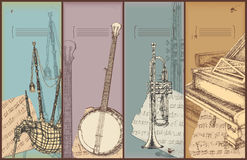 Music theme banners - instruments drawing. Bagpipe, banjo, trumpet, piano Stock Images