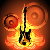 Music theme with flaming guitar. Illustration of flaming rock guitar against loudspeaker sound system Royalty Free Stock Photos