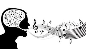 Music theme - head of the singer. On white background Royalty Free Stock Images