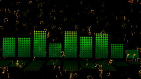 Music Theme. Looping animation of musical signs moving across an equalizer indicator stock video footage