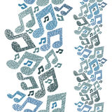 Music theme seamless pattern with notes, vertical composition, r Stock Photography
