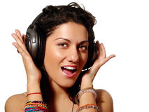 Music-time. Young beautiful girl enjoing music Stock Photography